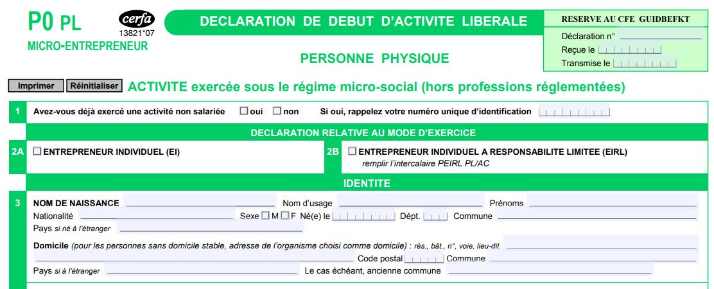 Le formulaire cerfa P0 PL pour devenir micro-entrepreneur en prestation de service libérale